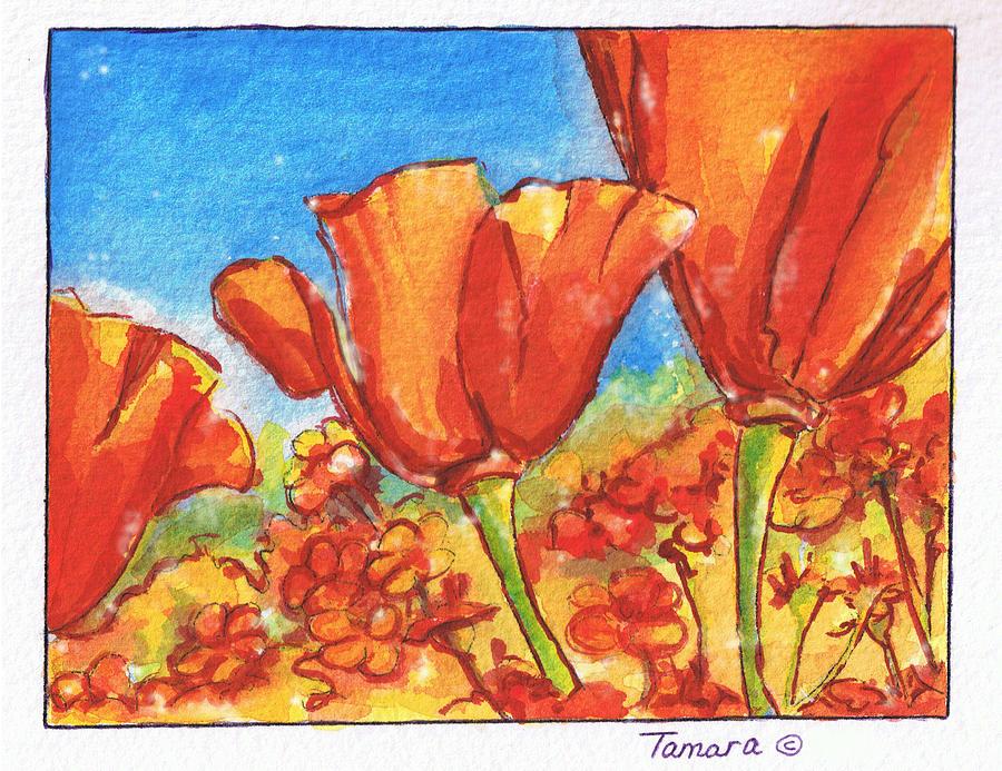Blue Painting - California Poppy 1 by Tamara Kulish