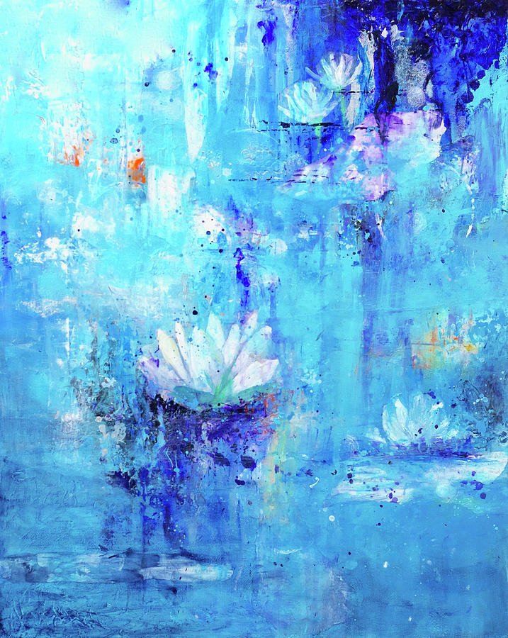 Waterlily Painting - Calm In The Storm by Jenny Bagwill