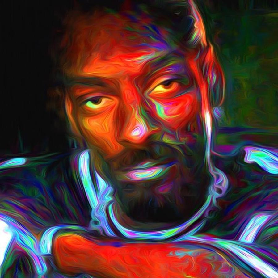 Painted Photograph - Calvin Broadus Aka Snoop Doggy Dogg by David Haskett II