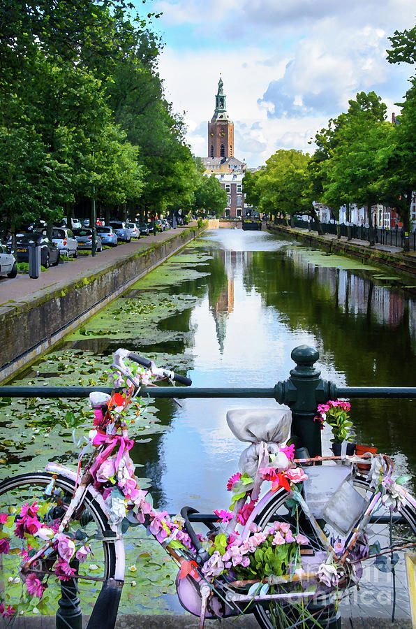 Europe Digital Art - Canal And Decorated Bike In The Hague by RicardMN Photography