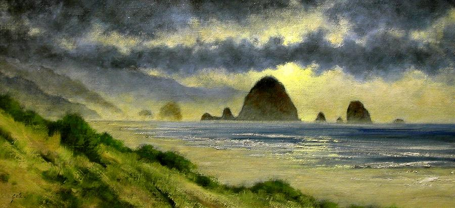 Landscapes Painting - Cannon Beach by Jim Gola