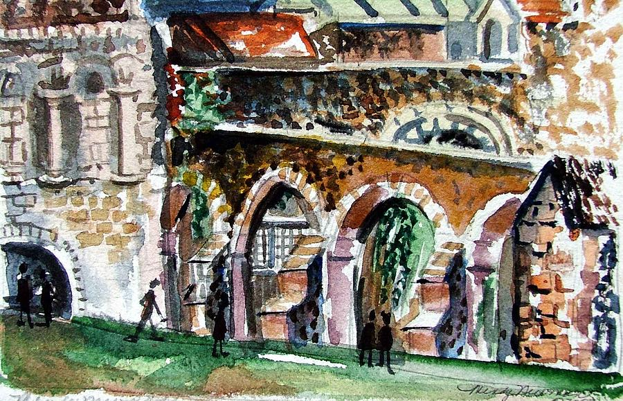England Painting - Canterbury England Cloisters by Mindy Newman