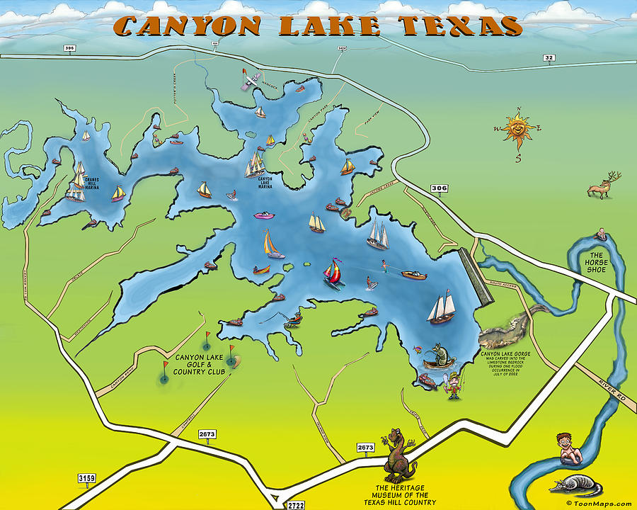 map of canyon lake Canyon Lake Texas Digital Art By Kevin Middleton map of canyon lake