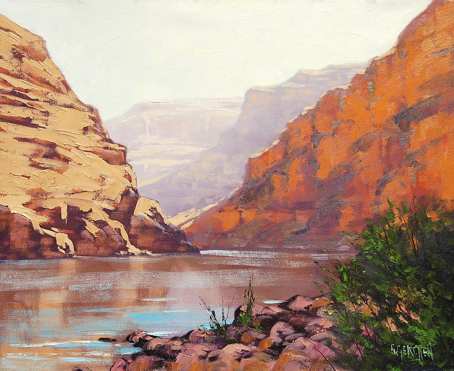 Rocks Painting - Canyon River  by Graham Gercken