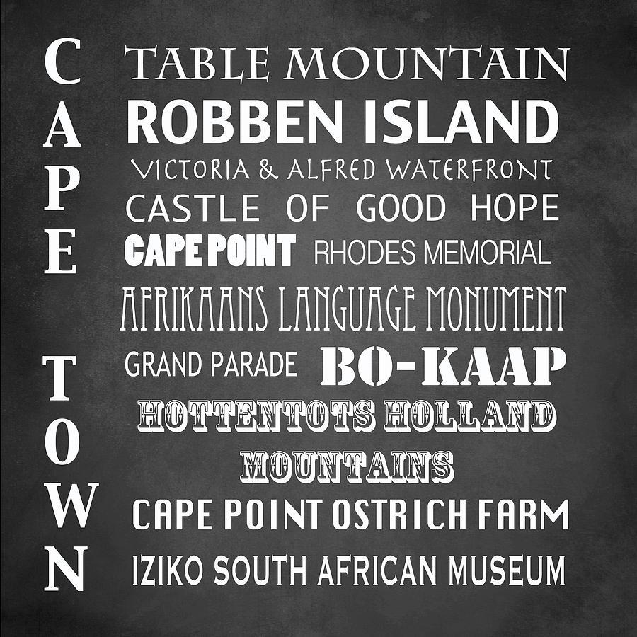 Iconic Landmark Digital Art - Cape Town Famous Landmarks by Patricia Lintner