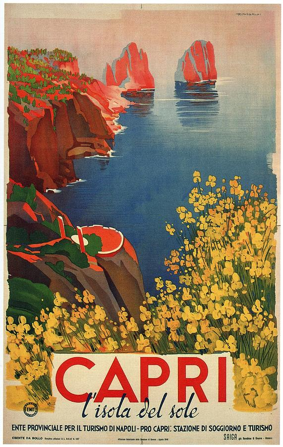 Vintage Travel Poster ITALY Travel Print Travel Art Travel Ad Art Deco Poster It