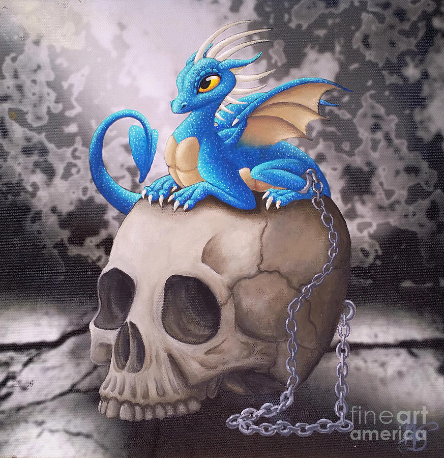 Dragon Painting - Captive Dragon On An Old Skull by Mary Hoy