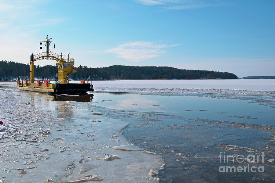 Winter Photograph - Car Ferry by Esko Lindell