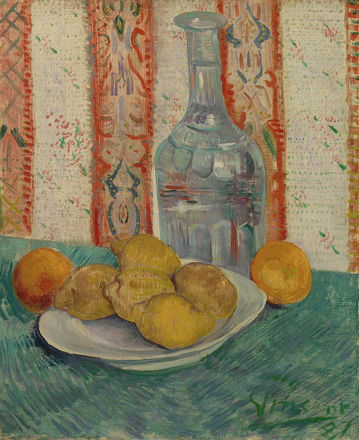 Vincent Van Gogh Painting - Carafe And Dish With Citrus Fruit by Vincent van Gogh