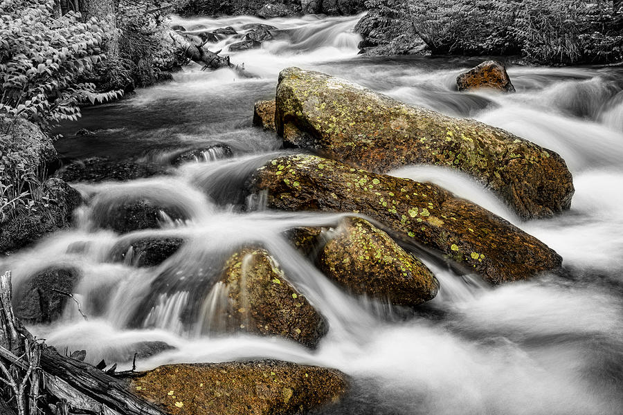 Cascading Water And Rocky Mountain Rocks Photograph