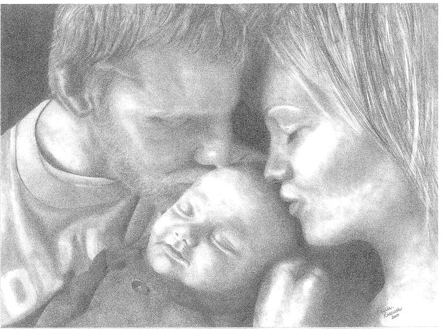 Graphite Drawing - Cassiday Family 1  by Rhonda  Rodericks