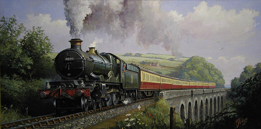 Railway Painting - Castle On Broadsands Viaduct by Mike Jeffries