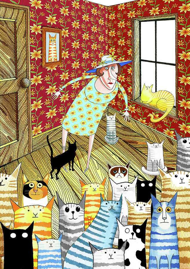 Cat Mixed Media - Cat Lady  by Andrew Hitchen