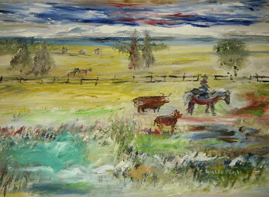 Landscape Painting - Cattle Drive by Edward Wolverton
