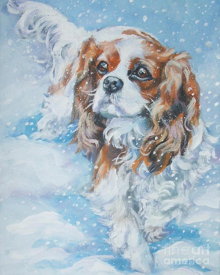 Cavalier King Charles Spaniel Painting - Cavalier King Charles Spaniel Blenheim In Snow by Lee Ann Shepard