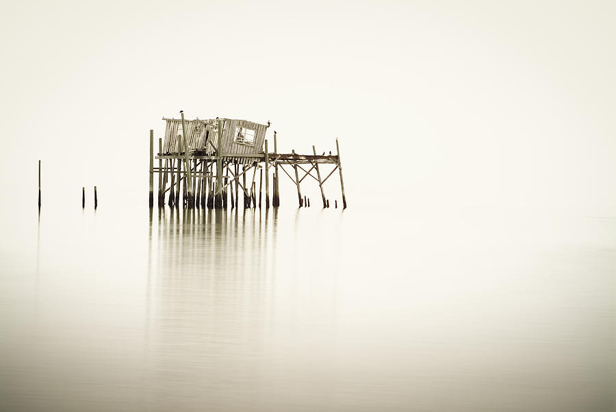 Old Photograph - Cedar Key Structure by Patrick M Lynch