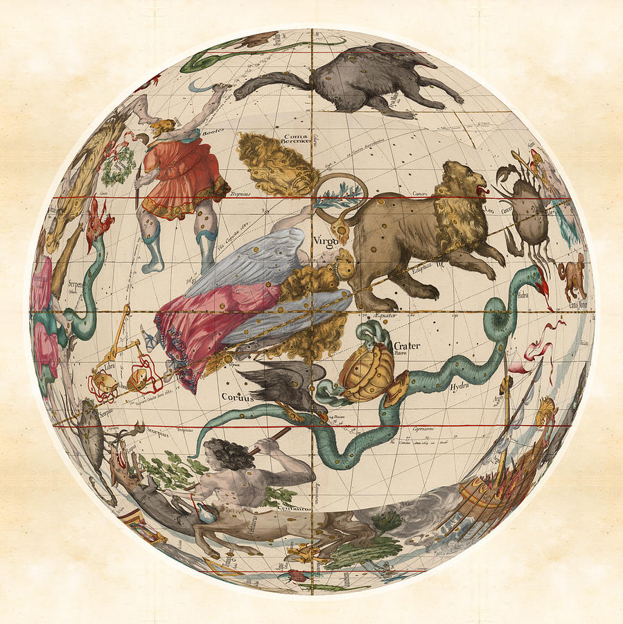Celestial Map - Constellations - Virgo, Hydra, Leo, Li - Illustrated on