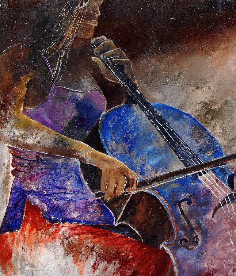 Music Painting - Cello Player  by Pol Ledent