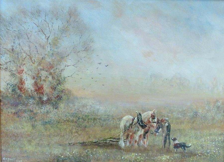 Horses Painting - Chain Harrowing by Ken Boot