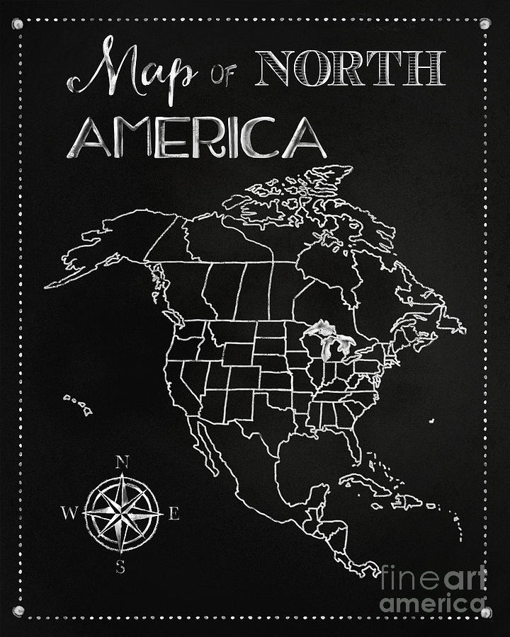 Chalkboard Map Of North America Digital Art By Tina Lavoie