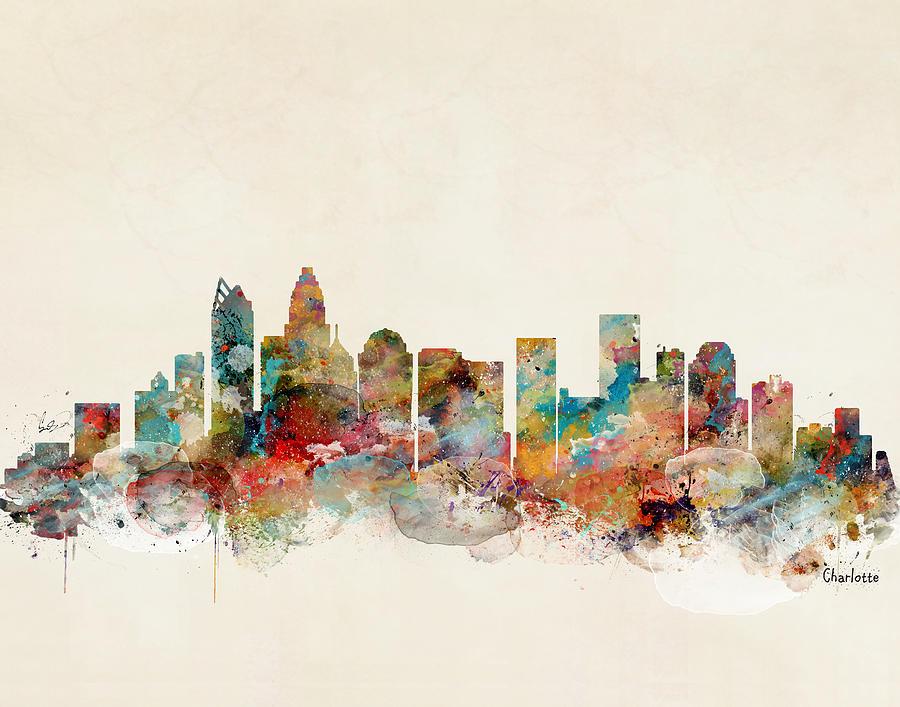 Skylines Painting - Charlotte North Carolina by Bri Buckley