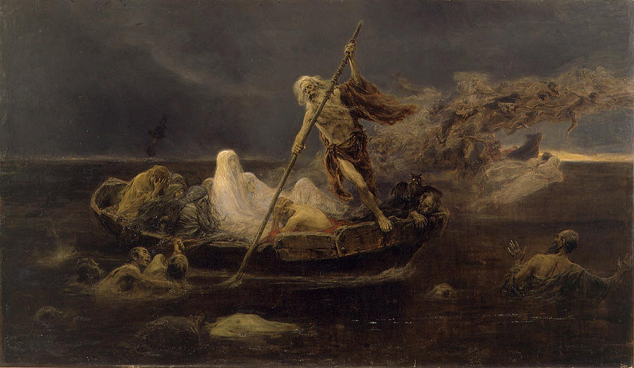 River Painting - Charon Boat by Jose Benlliure