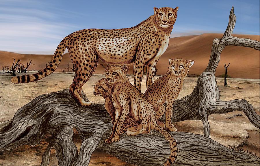 Cheetah Drawing - Cheetah Family Tree by Peter Piatt