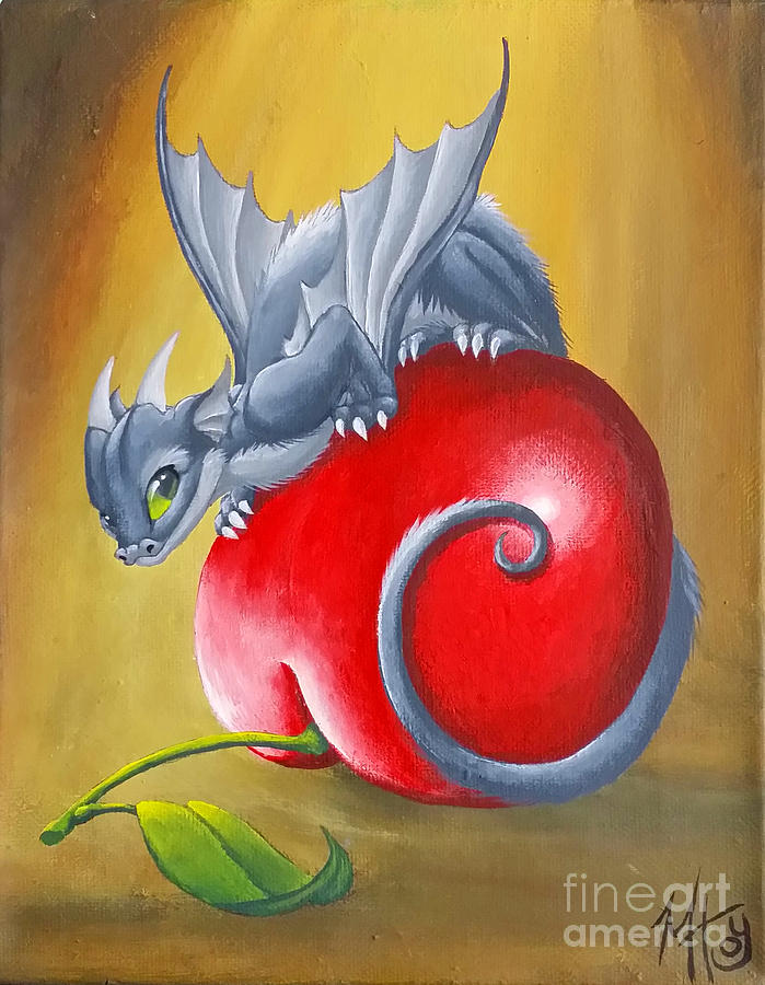 Dragon Painting - Cherry Dragon by Mary Hoy