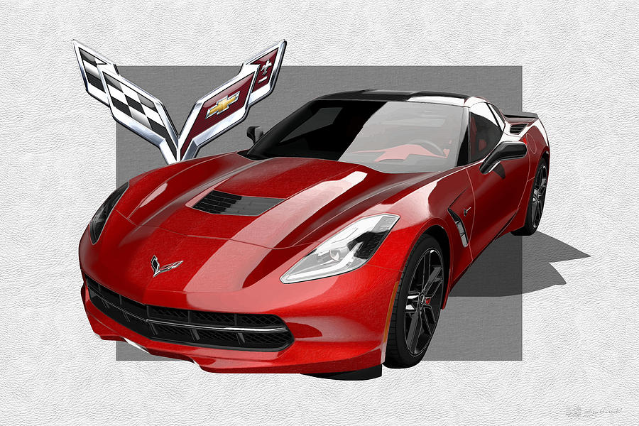 Car Photograph - Chevrolet Corvette  C 7  Stingray with 3 D Badge  by Serge Averbukh