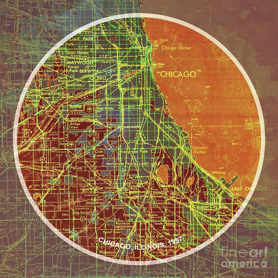 Frank Lloyd Wright Chicago Map.Chicago 1957 Old Map Chicago Frank Lloyd Wright Quote Painting By