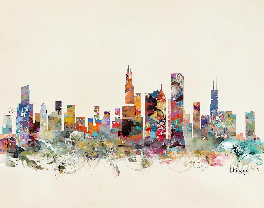 Chicago City Skyline Painting - Chicago City Skyline by Bri Buckley