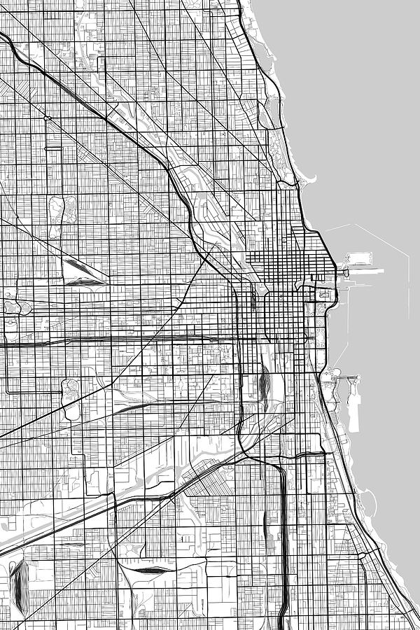 Chicago Illinois Usa Light Map Digital Art