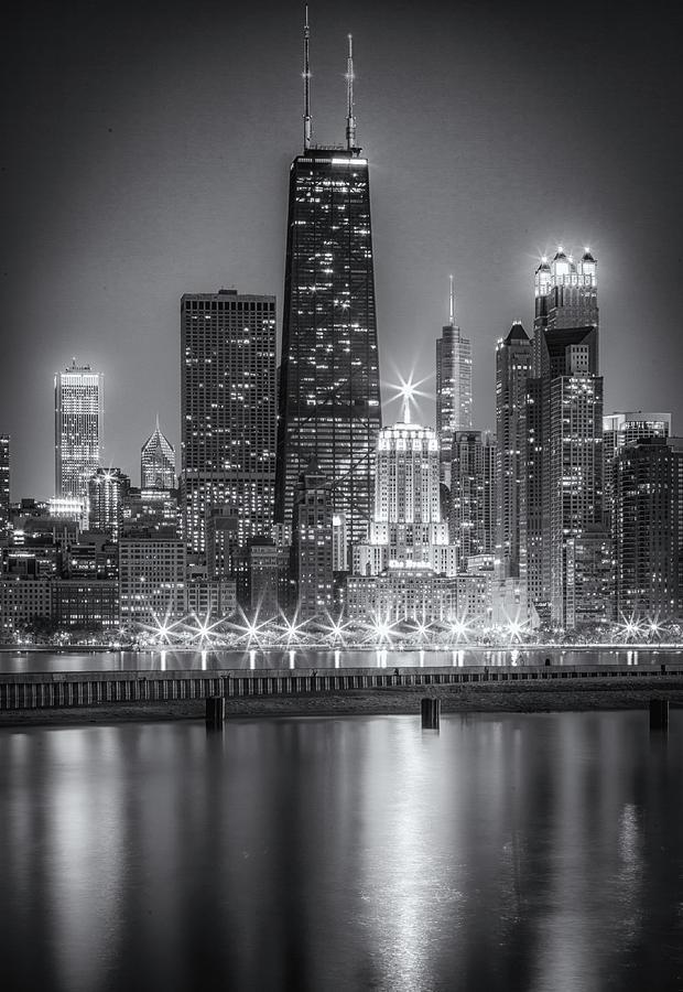 Black and White Chicago Night Skyline by Lev Kaytsner