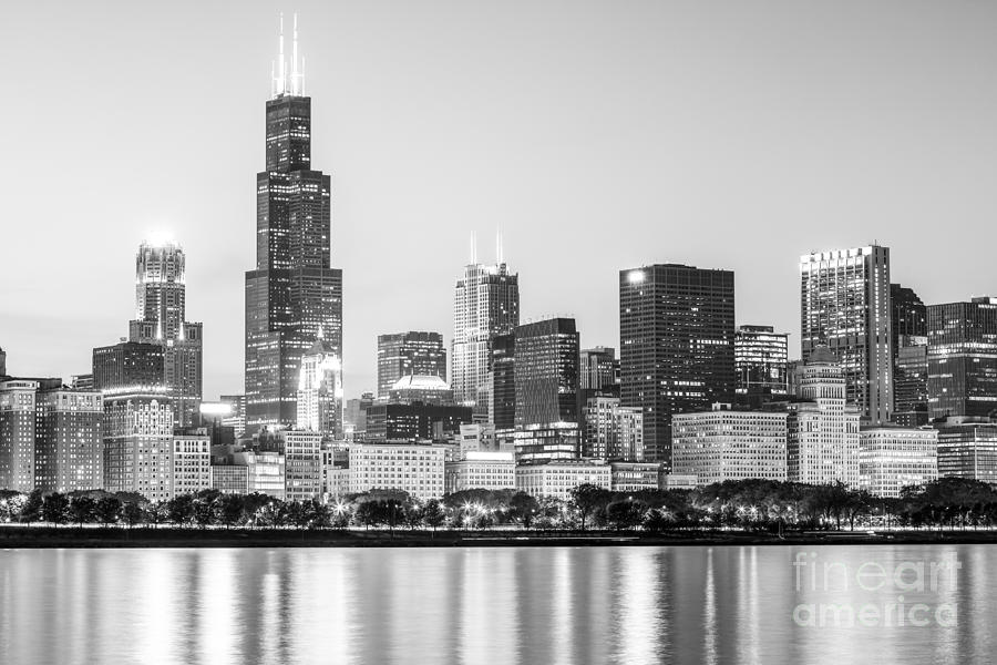 America Photograph - Chicago Skyline Black And White Photo by Paul Velgos