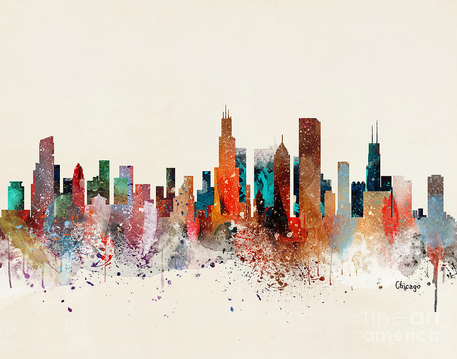 Chicago Illinois Painting - Chicago Skyline  by Bri Buckley