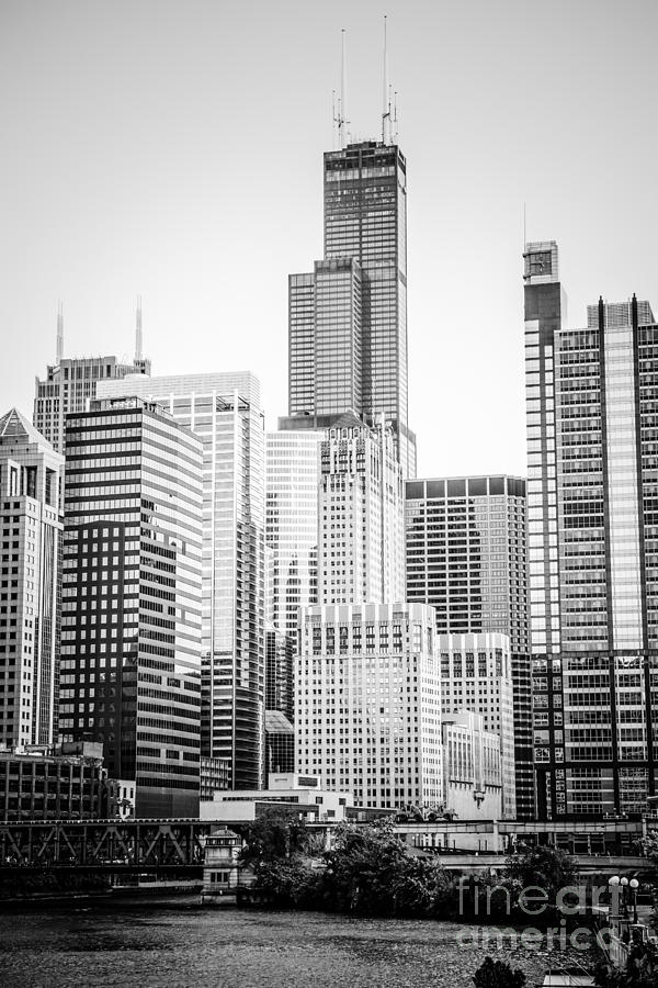 America Photograph - Chicago with Sears Willis Tower in Black and White by Paul Velgos