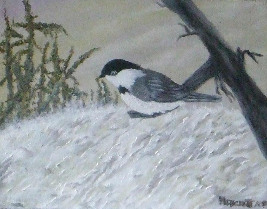 Chickadee Painting - Chickadee by Rebecca  Fitchett