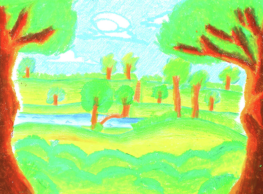 Children\'s Paint Summer Nature Painting by Sujin Jetkasettakorn