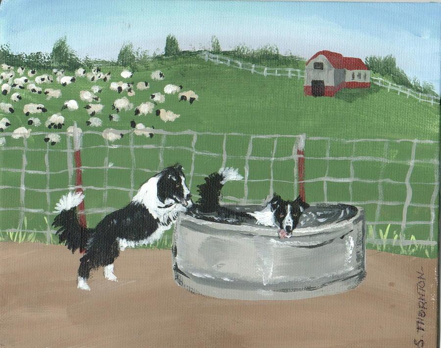 Border Collies Painting - Chillin by Sue Ann Thornton