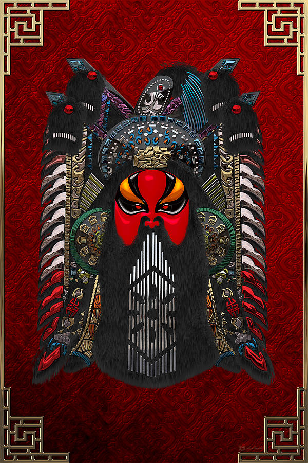 Peking Opera Masks Photograph - Chinese Masks - Large Masks Series - The Red Face by Serge Averbukh