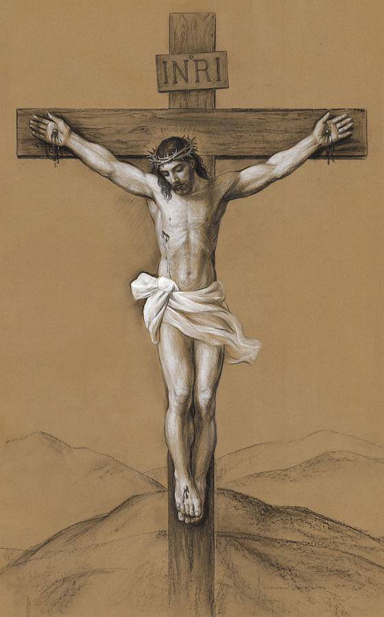 Christ Crucified Drawing - Christ Crucified by Svitozar Nenyuk
