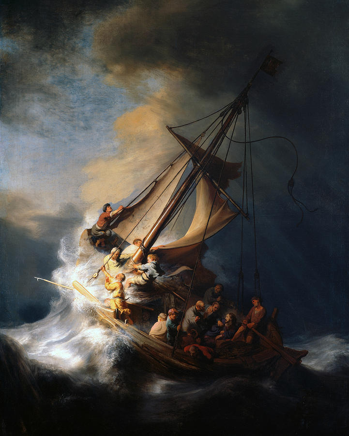 Dutch Painters Painting - Christ In The Storm On The Lake Of Galilee by Rembrandt