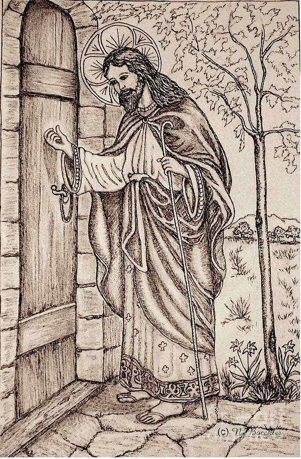 Christ Knocking At The Door Drawing By Norma Boeckler