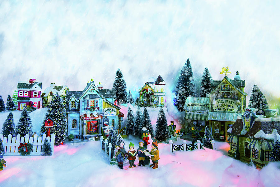Christmas Background Of Winter Miniature Scenery With Kids ...