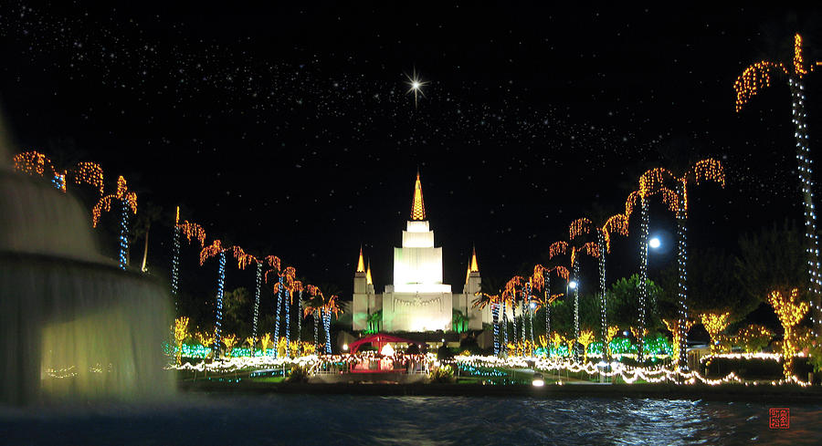 Oakland Temple Photograph - Christmas On Temple Hill by Geoffrey C Lewis