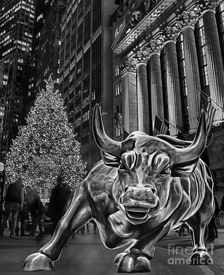 Christmas On Wall Street Featuring New York Stock Exchange And C Photograph