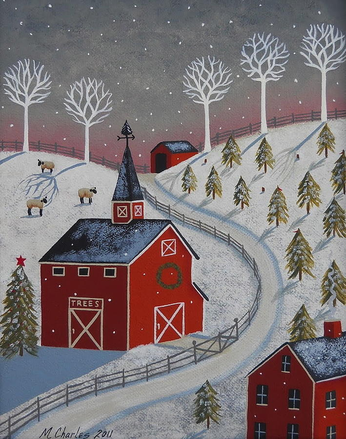 Little christmas tree farm painting by mary charles for Christmas images paintings