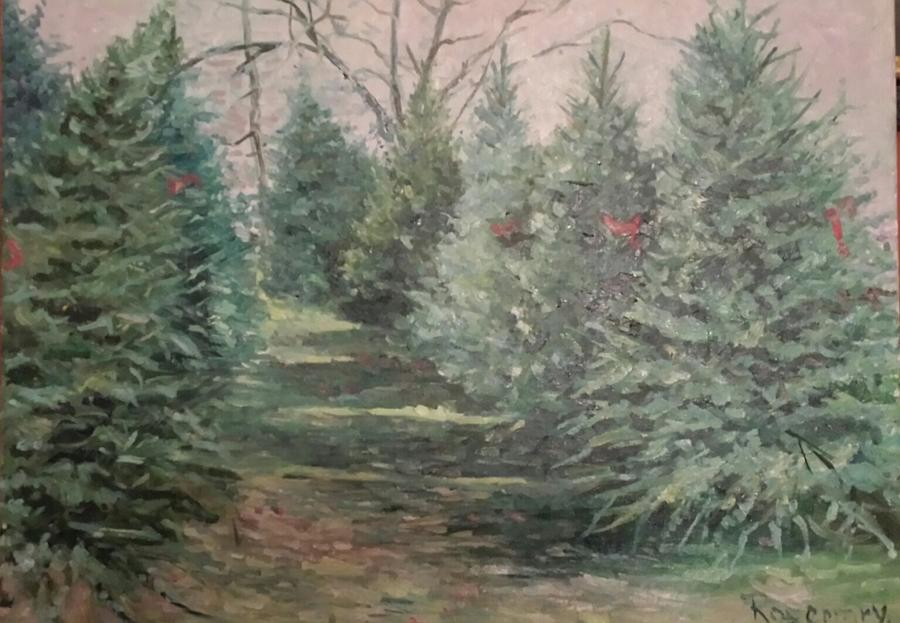 Trees Painting - Christmas Tree Lot by Rosemary Kavanagh