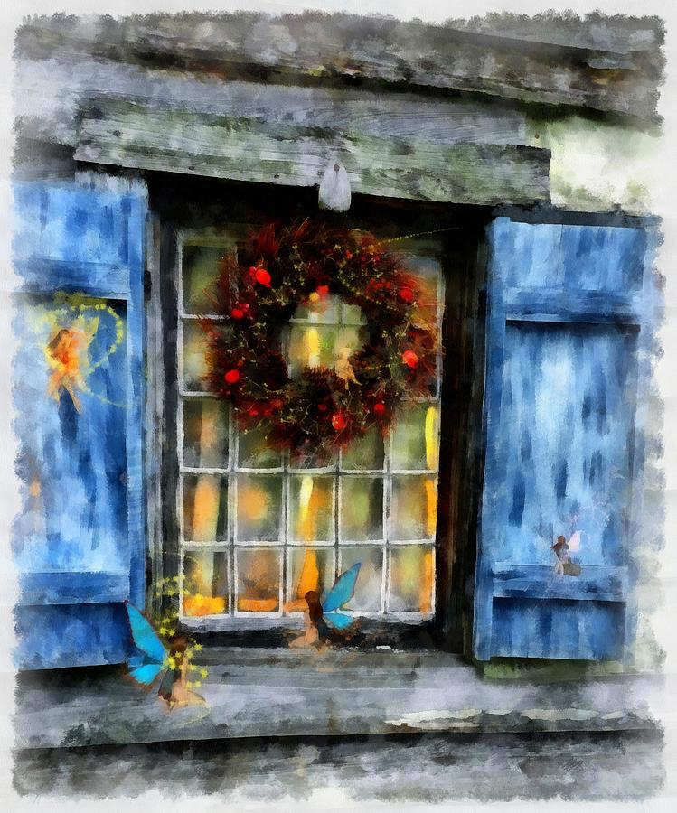 Christmas Painting - Christmas Wreath by Esoterica Art Agency