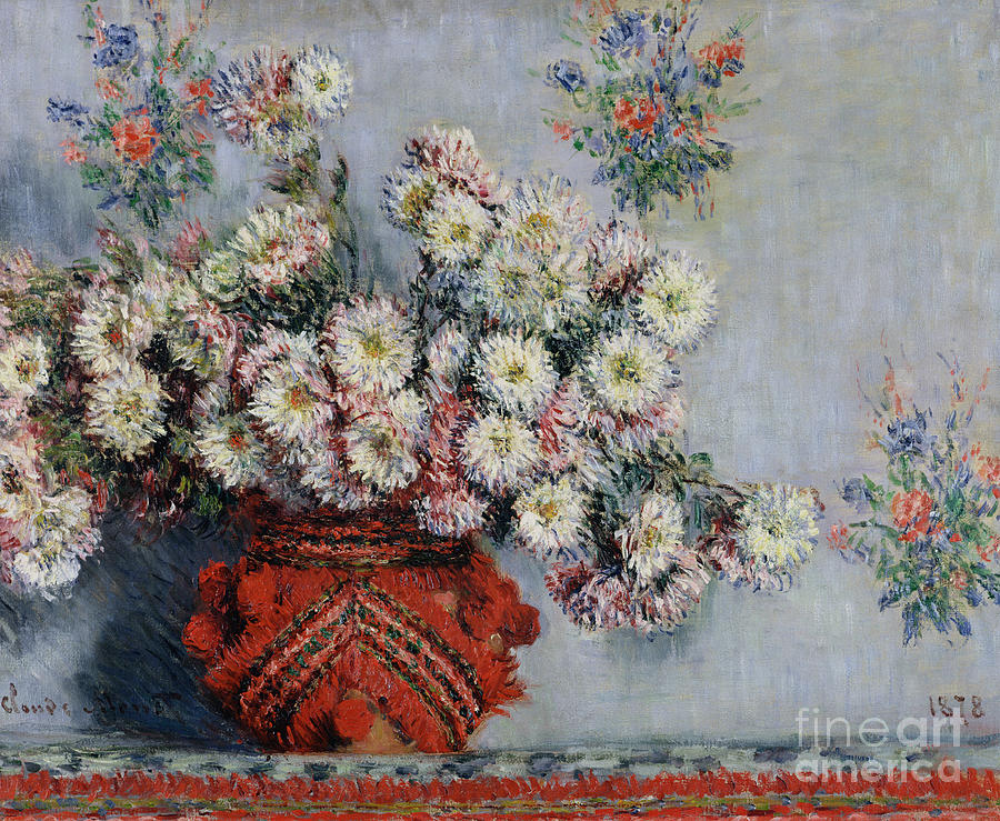 Chrysanthemums Painting - Chrysanthemums by Claude Monet